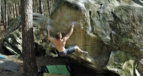 Maxi Karrer bouldert am Fels in Fontainebleau