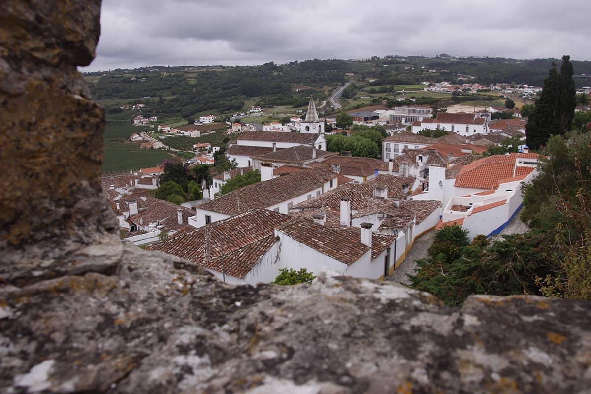 Ausblick auf Obidos auf dem Rückweg vom Tagesausflug nach Sintra