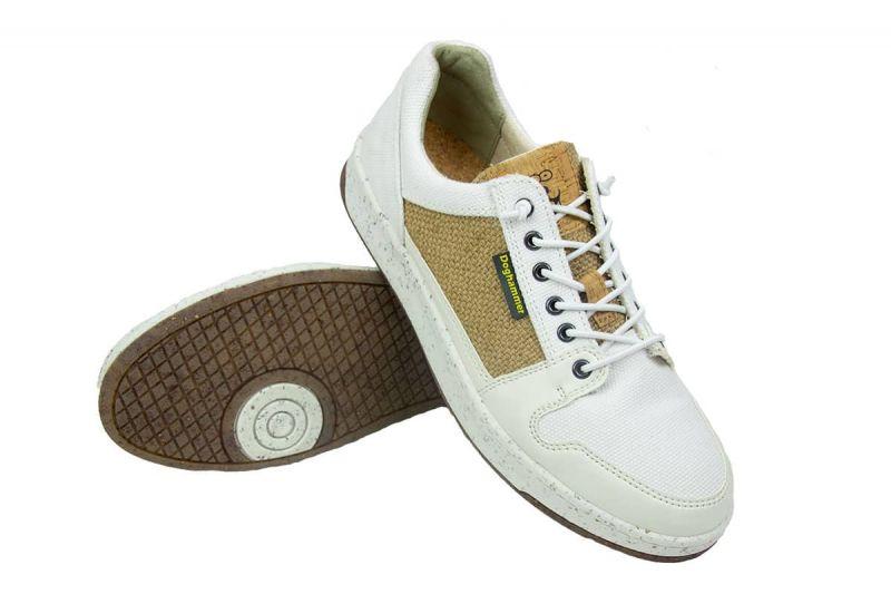 weiße sneaker für damen aus naturmaterial